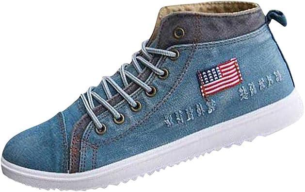LGHOVRS - Zapatillas de Running para Hombre, Deportivas, de Tela Vaquera, Moda Alta, Calzado Masculino, Transpirables, Zapatos de Paseo, Ligeras, Antideslizantes, Zapatillas Azul Size: 41 EU: Amazon.es: Zapatos y complementos