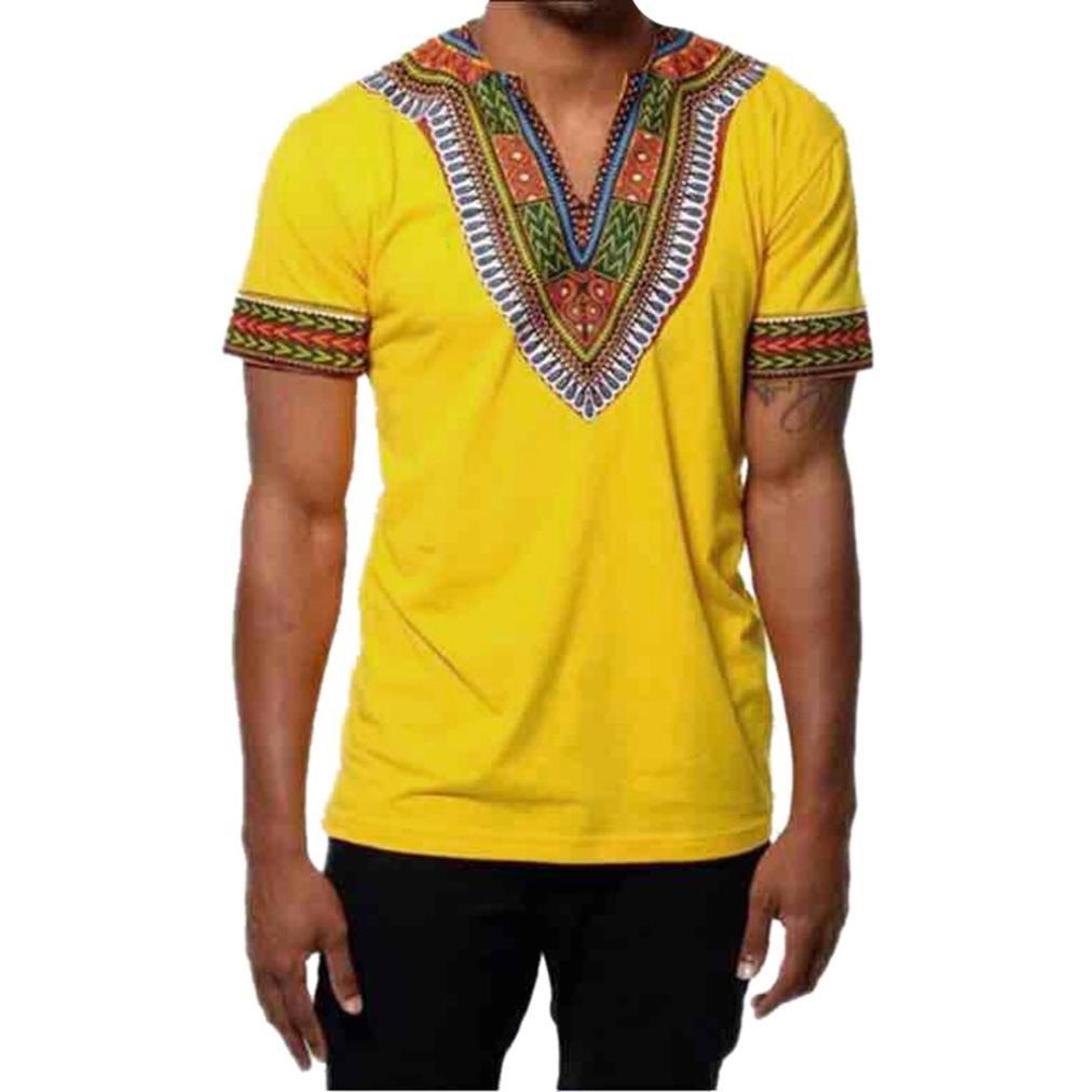 Men Shirts Clearance,Men's Summer Slim-Fit African Printed Short Sleeve Shirt Casual (Yellow, 3XL)