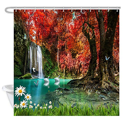 Woodsy Shower Curtain Mystic Forest, Waterfall and Red Tree Flower Butterfly in Fall Autumn Forest at National Jungle Park Bath Curtains, Country Shower Curtain for Bathroom 12PCS Hooks, 69X70 In