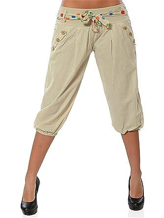 ASKSA Damen Pumphose in Unifarben Lässige Kurze Hose Lanternhose Pumphose  Haremshose 3 4 Shorts mit 2dcae355d0