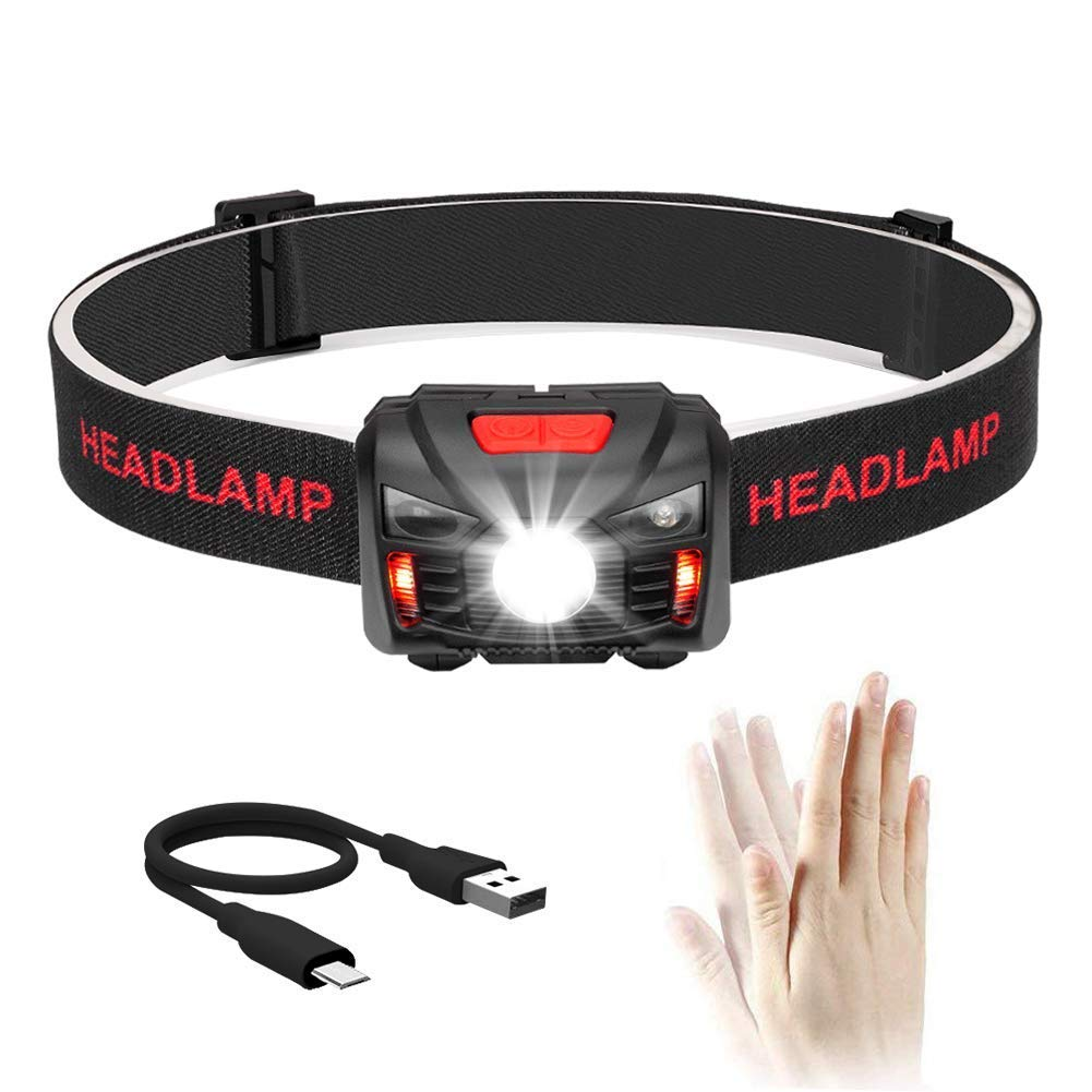 Winzwon Head Torch LED headlamp Headlight 5 Modes Helmet Light Super Bright Sensor Headlamp with USB Rechargeable Headlamp Perfect for Running Hiking Walking Camping Reading