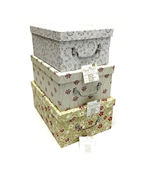 Conjunto de diseño de flores decorativas de 3 cajas de almacenamiento de oficina en casa.: Amazon.es: Hogar