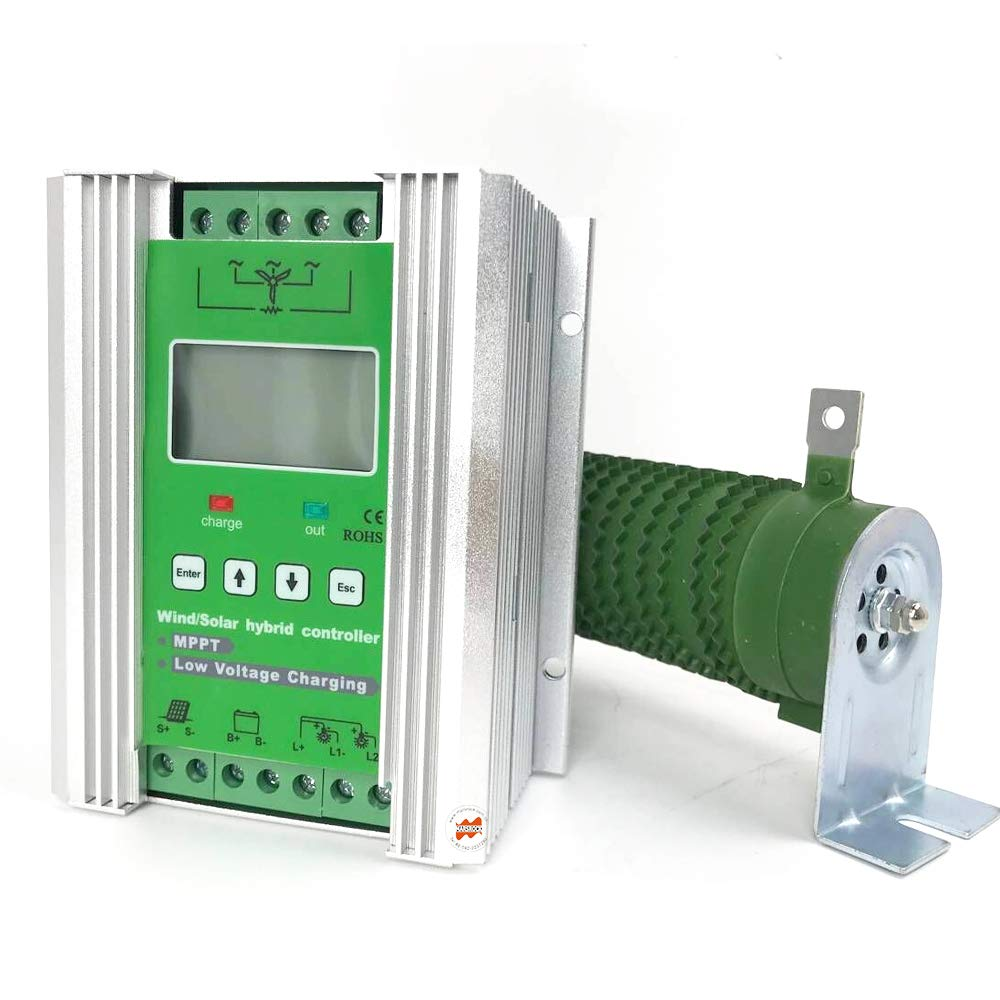 Marsrock 1400W 12V/24V Auto Off Grid MPPT Wind Solar Hybrid Charge Controller Suitable for 800W Wind with 600W Solar Panel System with Booster Function
