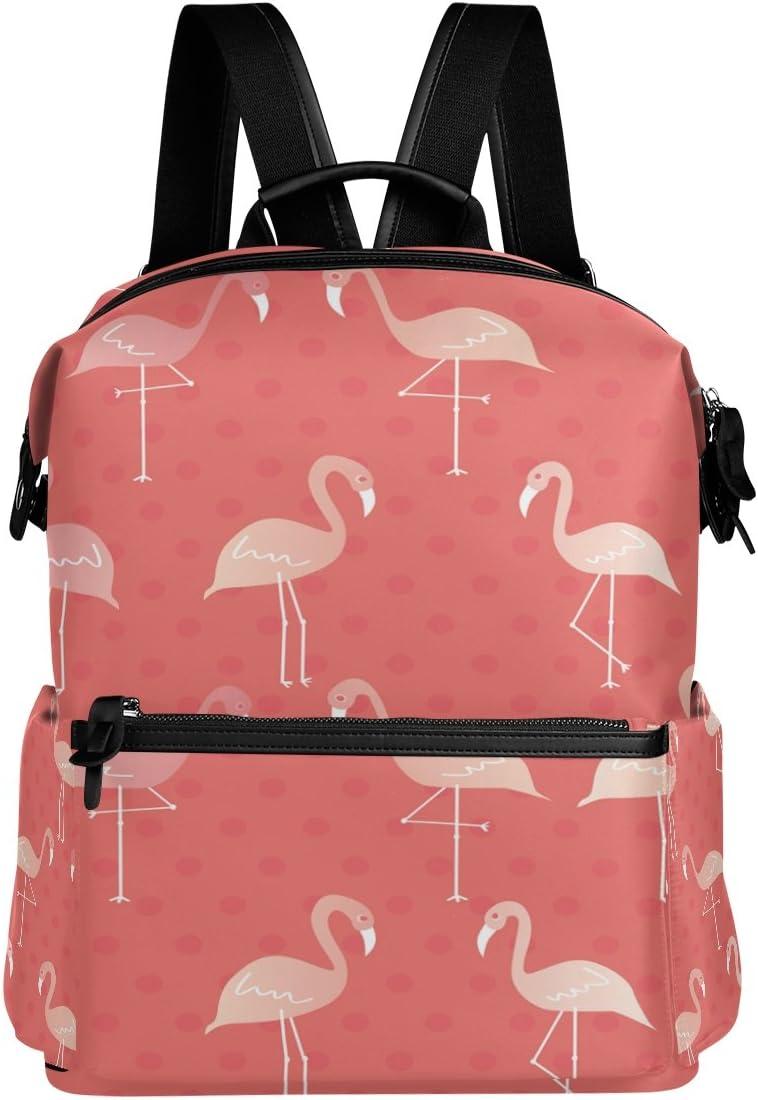 Laptop Backpack Lightweight Waterproof Travel Backpack Double Zipper Design with Seamless Cartoon Flamingo Pattern School Bag Laptop Bookbag Daypack for Women Kids
