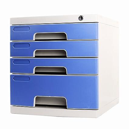 Archivadores Gabinetes de Archivo Suministros de Mesa 4 Capas con Bloqueo Tipo de cajón Azul