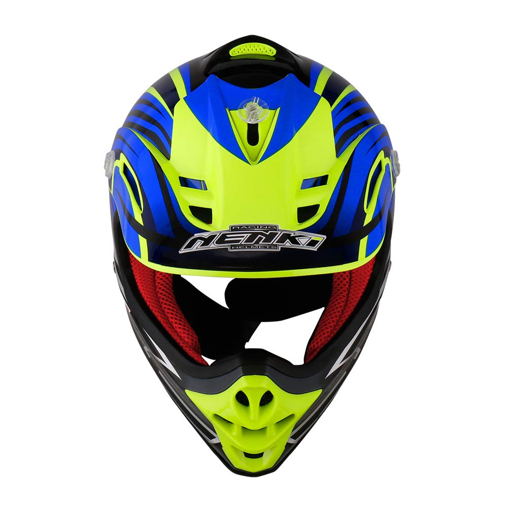 NENKI Kids Quad Helmet NK-303,Motocross ATV Dirtbike Offroad Go Karting Motorbike Helmet,ECE Approval XXS 51-52CM,Black Blue