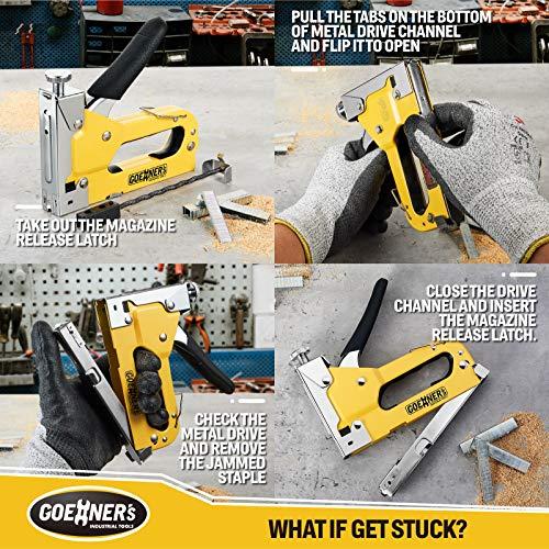 GOEHNER's Staple Gun with Staples, Heavy Duty Stapler 3 in 1 with 3000 Staples for Upholstery, Wood, DIY Fixing (Staple Gun) (Staple Gun)