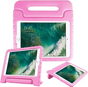 Fintie Case for iPad 6th Generation 2018 / iPad 5th Generation 2017 / iPad Air 2 / iPad Air (9.7 Inch) - Kiddie Series Light Weight Shock Proof Convertible Handle Stand Cover Kids Friendly, Pink