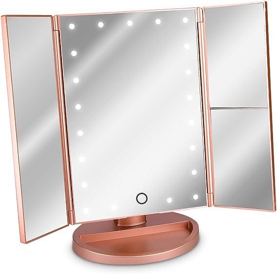 Navaris Espejo cosmético LED Plegable - Espejo tríptico de Maquillaje con iluminación - Espejo con Pliegues de aumentos 2X y 3X - en Oro Rosa: Amazon.es: Hogar