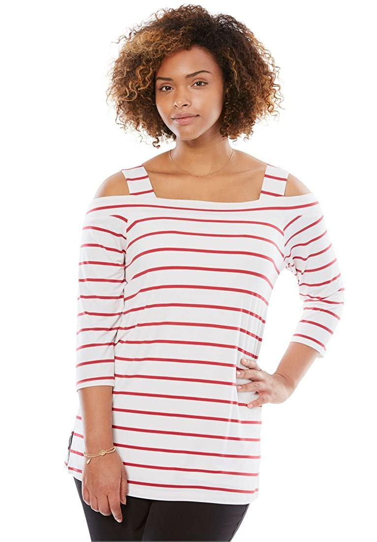 Woman Within Plus Size Cold Shoulder Square Neck Tee