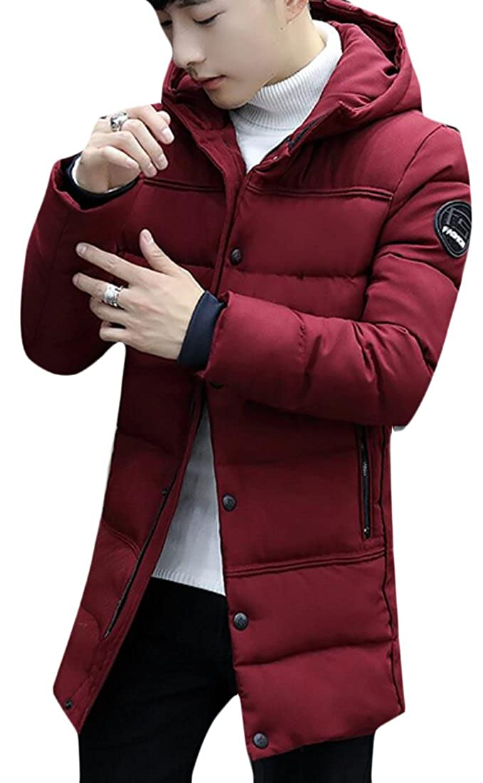 Frieed Mens Outerwear Front-Zip Thicken Padded Down Jackets Coats With Hood