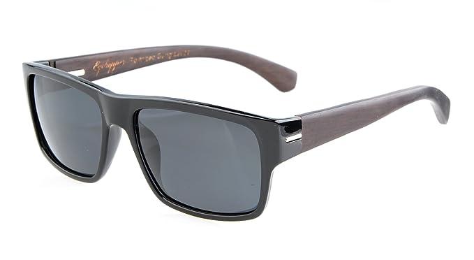 a8806ef6dea Eyekepper Quality Spring Hings Wood Temples Polarized Sunglasses Black Grey  Lens  Amazon.co.uk  Clothing