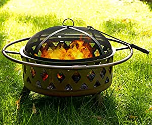 Merax 30 inch outdoor garden metal fire pit for Amazon prime fire pit