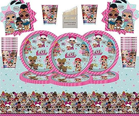 Kids Surprise Party Pack Vajilla de cumpleaños para niños 98 Piezas Suministros de Fiesta LOL Sirve 32- Platos LOL Copas Servilletas Cubierta de Mesa: Amazon.es: Juguetes y juegos