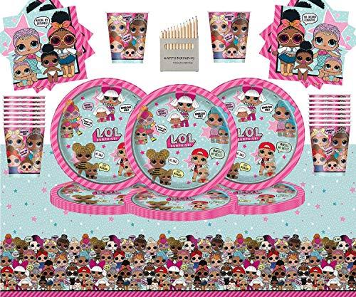 Kids Surprise Party Pack Vajilla de cumpleaños para niños 98 Piezas Suministros de Fiesta LOL Sirve 32- Platos LOL Copas…