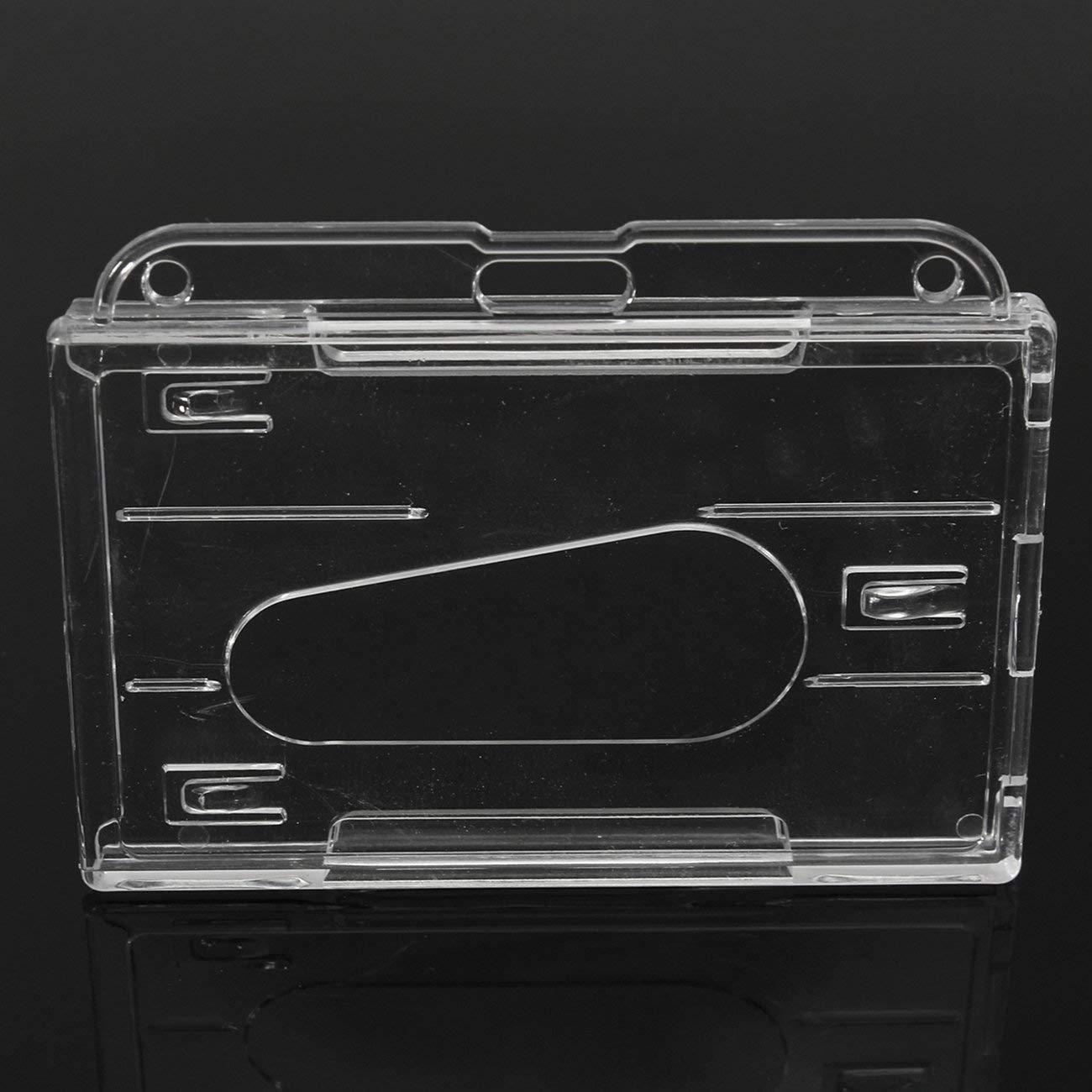 Elviray 3Pcs Porta Carte di Credito a Doppia Faccia in plastica Rigida Trasparente ID Orizzontale Porta Badge Porta Carte Facile Accesso Thumb Notch
