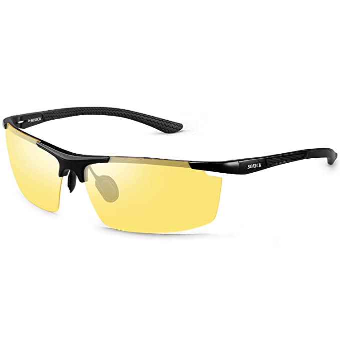 Night Driving Glasses, Anti Glare Polarized Safety Yellow Glasses for Men Women