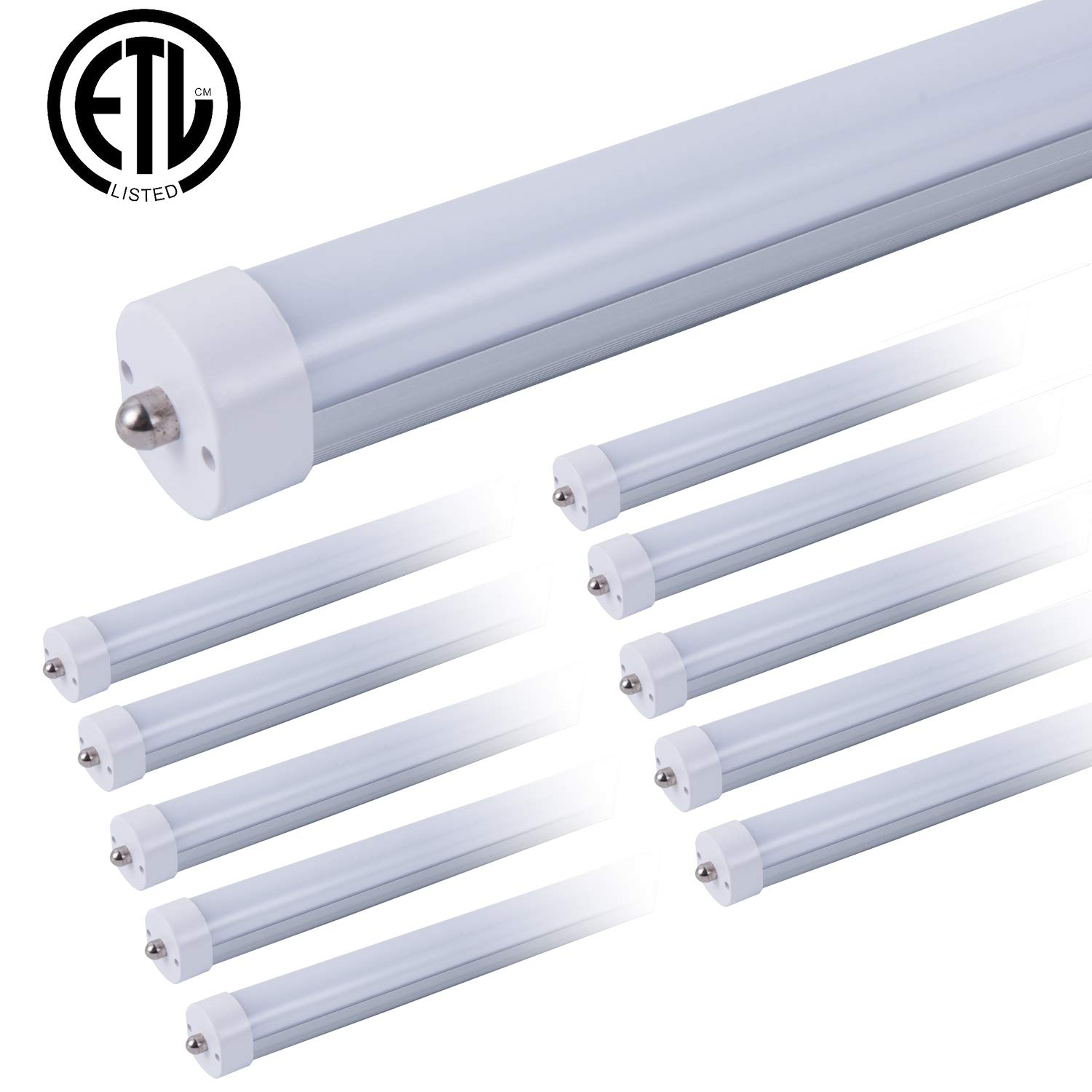 ETL T8 T12 LED 8ft Tube Light F96T8 F96T12 LED Bulb 96'' FA8 Single Pin LED Fluorescent Replacement, ONLYLUX (100W Fluorescent Equivalent), AC85-277V, 6500K CW Daylight Milky Cover, 10 Pack by ONLYLUX (Image #1)