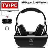 Wireless TV Headphones, Artiste ADH300 2.4GHz Digital Over-Ear Stereo Headphone for TV 100ft Distance Transmitter Charging Dock Rechargeable (Black)