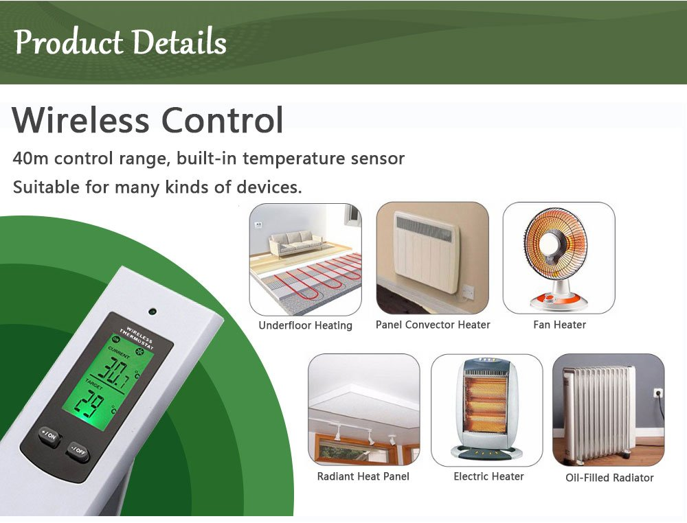 Wireless Temperature Controller, Electric Outlet Thermostat with Remote Control Built in Temp Sensor 3 Prong Plug Heating Cooling Mode (OPS100+OTS100) ...