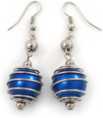 Pendientes de gota de perlas sintéticas de color azul marino, 5,5 cm de caída