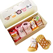 Dicry Newborn Girls Socks,0-6 Months,5 Pairs,Turn Cuff,Non Slip,Anti Skid,Baby Grip Ankle Socks