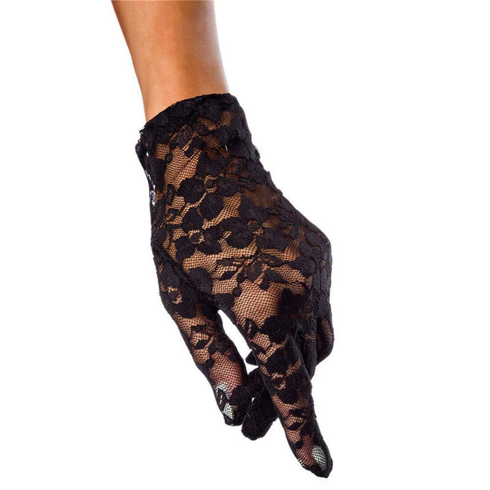 Uiophjkl Hochzeitshandschuhe Spitzen-Handschuhe Short Frau Braut Hochzeit Outdoor Sonnencreme Handschuhe Farbe : Rot