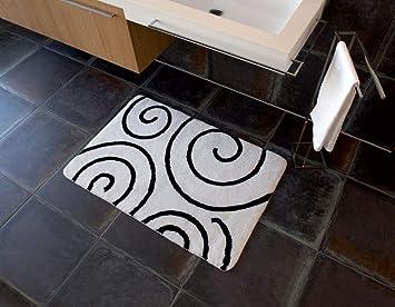 Nicol Badteppich Kira Weisser Hintergrund Schwarze Spiralen 60x100cm