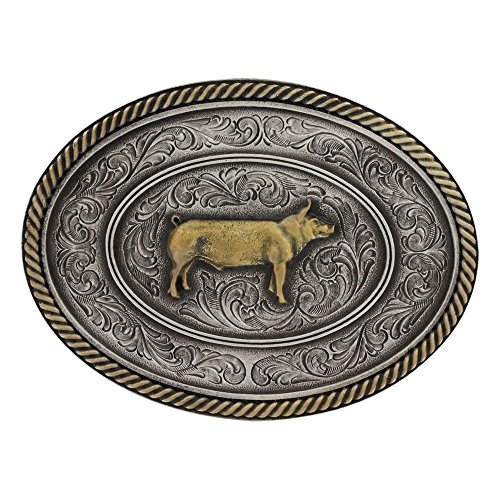 Montana Silversmiths Men's Prize Pig Classic Impressions Attitude Belt Buckle Multi One - Belt Multi Buckle