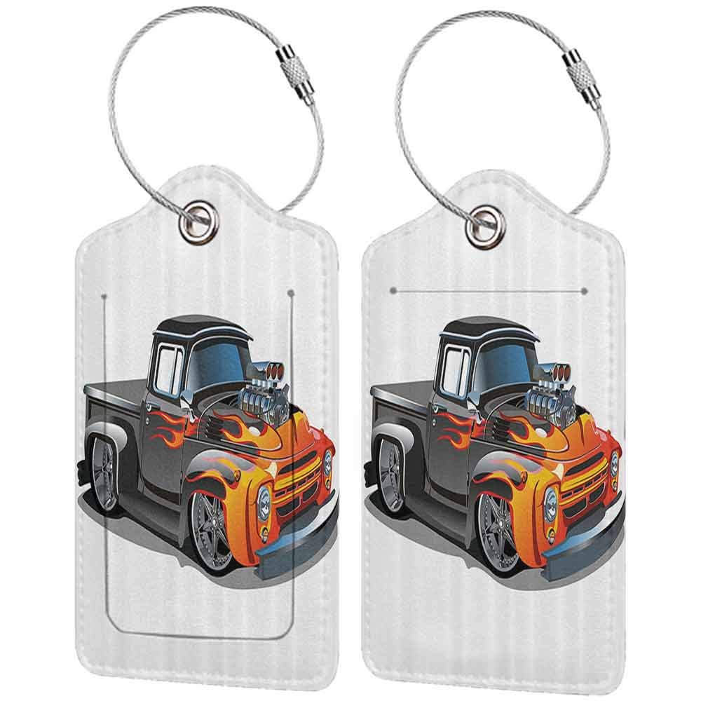 Printed luggage tag Manly Decor Collection Cartoon Hot Rod Car Truck Antique Old Model Automobile Transport Nostalgia Image Protect personal privacy Orange Grey W2.7 x L4.6