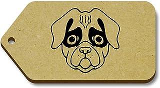 Azeeda 10 x 'Visage Carlin' etiquettes de Bagage / Cadeau en Bois (TG00008272)