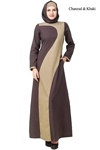 MyBatua Muslim Abaya Corallo & Khaki Casual & Formal Wear Burqa Maxi AY-593 (M)