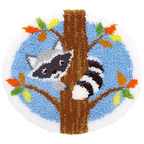 Vervaco PN-0155993 Raccoon in Tree Shaped Rug Latch Hook Kit, 21.5