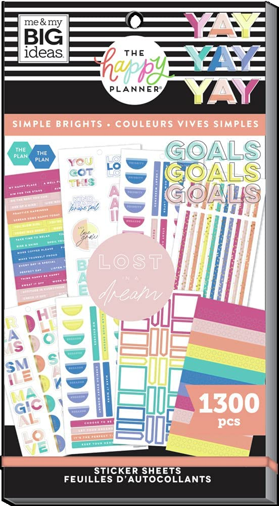 The Happy Planner Sticker Value Pack - Planner & School Accessories - Simple Brights Everyday Theme - Multi-Color - Great for Planning & Organizing - 30 Sheets, 1300 Stickers: Office Products