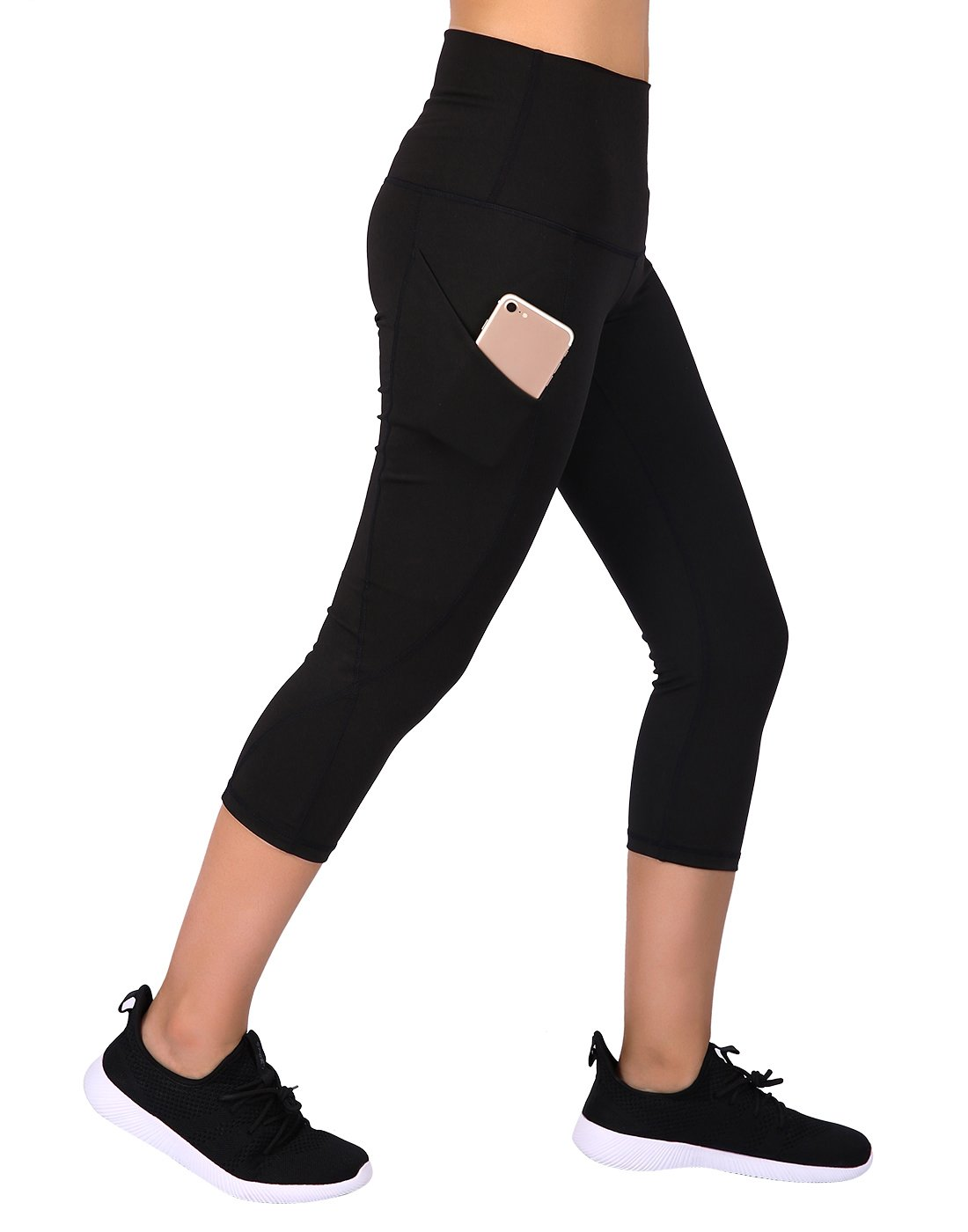 HDE Womens Capri Yoga Pants Fitted Stretch Leggings for Workouts Running (Black, X-Large)