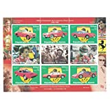 Stamps for collectors - perforfated stamp sheet featuring Formula 1 / Racing / Cars / Ferrari / Schumacher / Villeneuve