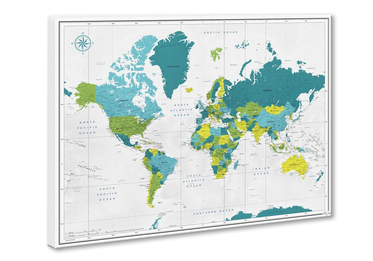 Travel map canvas pin board/Push Pin map inspired by Pantone® /  Personalized world map/Push Pin canvas map