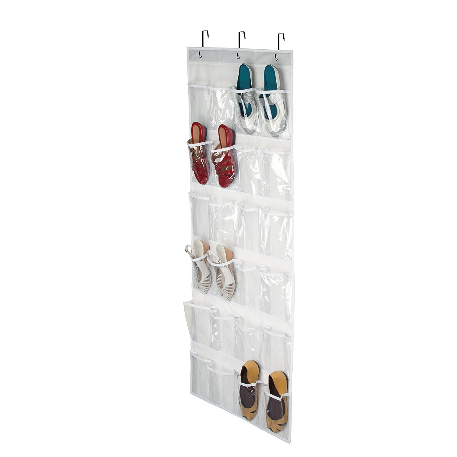Toys Storage, 24 Pocket Hanging Wall Organizer,Over The Door Hanging Shoe Organizer Bag with Customized Metal Hooks Accessories for Bathroom, Laundry Items (White) Mofeng
