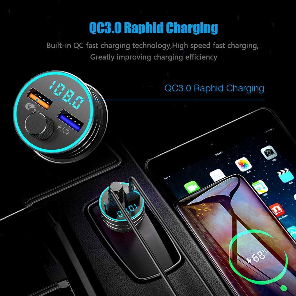 Transmisor FM Bluetooth 5.0 Reproductor MP3 Coche QC3.0 Carga r/ápida Adaptador de Radio Dual USB 5V//1A Manos Libres inal/ámbrico iOS//Android