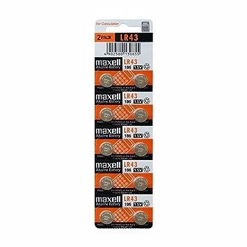 Maxell LR43 1.5V Micro - Pack de 10 pilas alcalinas