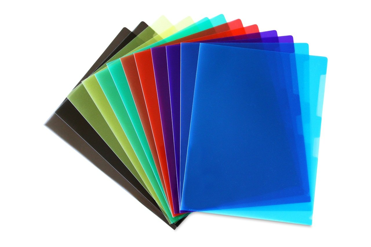 STEMSFX Clear Plastic Paper Jacket Sleeve Folders for Letter Size Papers - Pack of 12 (Assorted colors) by STEMSFX