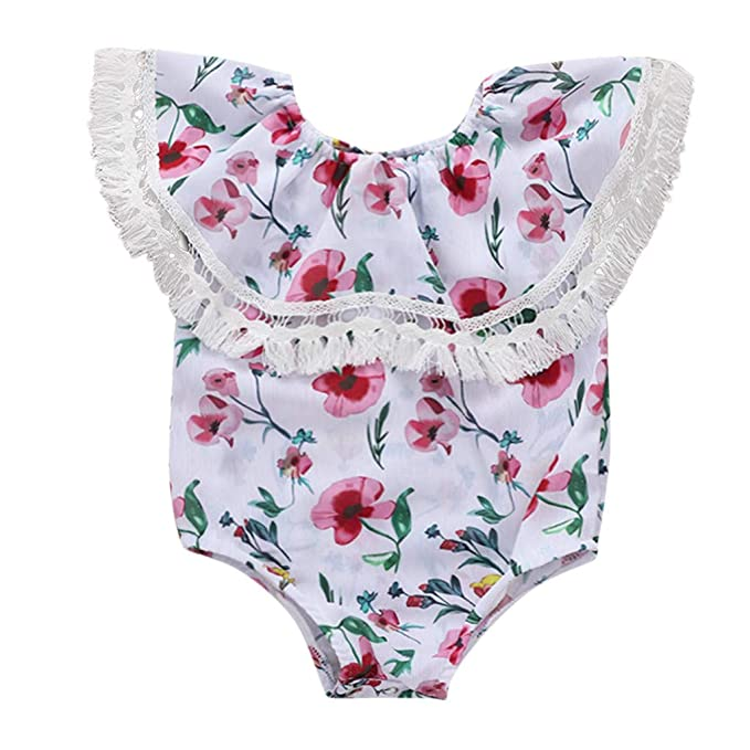 New Newborn Baby Girl Floral Off Shoulder Romper Bodysuit Summer Outfits Clothes
