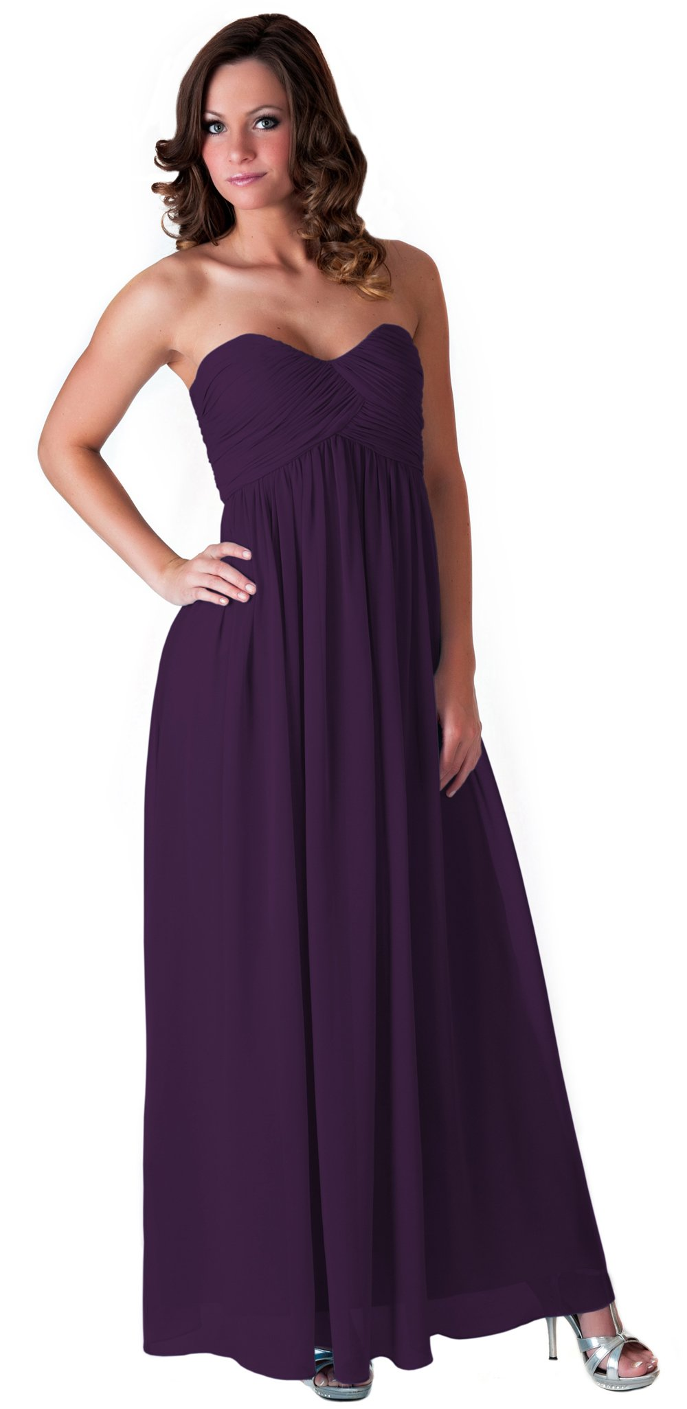 Faship Womens Long Evening Gown Bridesmaid Wedding Party Prom Formal Dress,Dark Purple,18 Plus