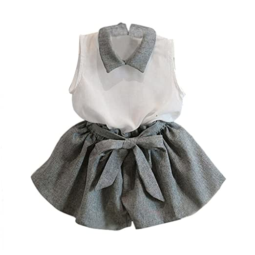 24ebd421b8f Amazon.com  2018 Hot Sale Little Girls Sweet Casual Beach Sleeveless  Chiffon Bow T-shirt Shorts 2Pcs Outfit Set Clothes Suit  Clothing