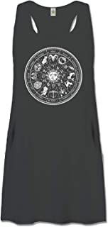 product image for Soul Flower Organic Cotton Zodiac Racerback Tank Top Dress with Pockets, Black Ladies Flowy Graphic Women's Dress