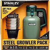: Stanley Growler Classic Vacuum Growler 64 oz and Adventure Stacking Steel Tumblers 12 oz, Hammertone Green - (4 Pack) Gift Set