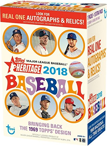 2018 Topps Heritage Baseball Blaster Box (8 Packs/Box, 9 Cards/Pack: 1969 Design -Look for New Rooki