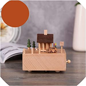 S-D-A Music Box Wooden Carousel Crafts Musical Jewelry Box,Happiness Cottage