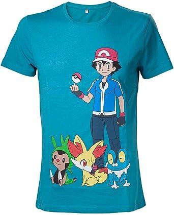 Pokemon Ash Ketchum Camiseta Turquesa XL: Amazon.es: Ropa y accesorios