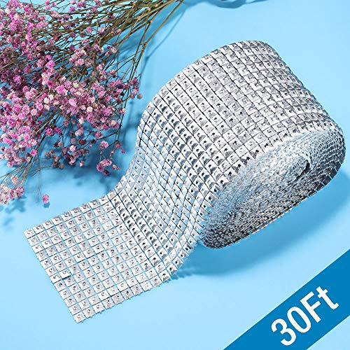 r Shape Mesh Wrap Roll Faux Rhinestone Crystal Ribbon for Event Decorations, Wedding Cake, Bridal & Party Decorations Acrylic Bling Rhinestone Roll (1 Roll, 12 Row,30 ft) (Square) ()